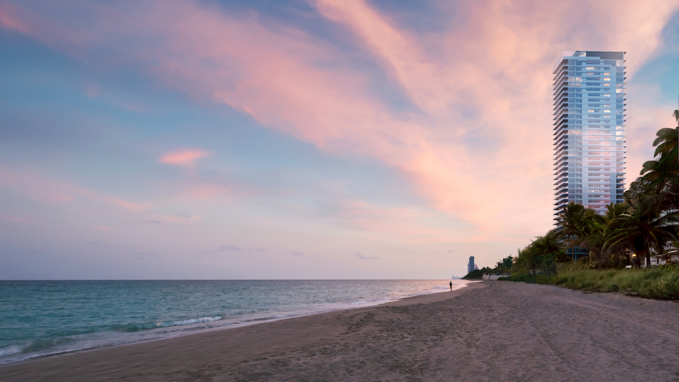 2000 Ocean's private beach at dusk