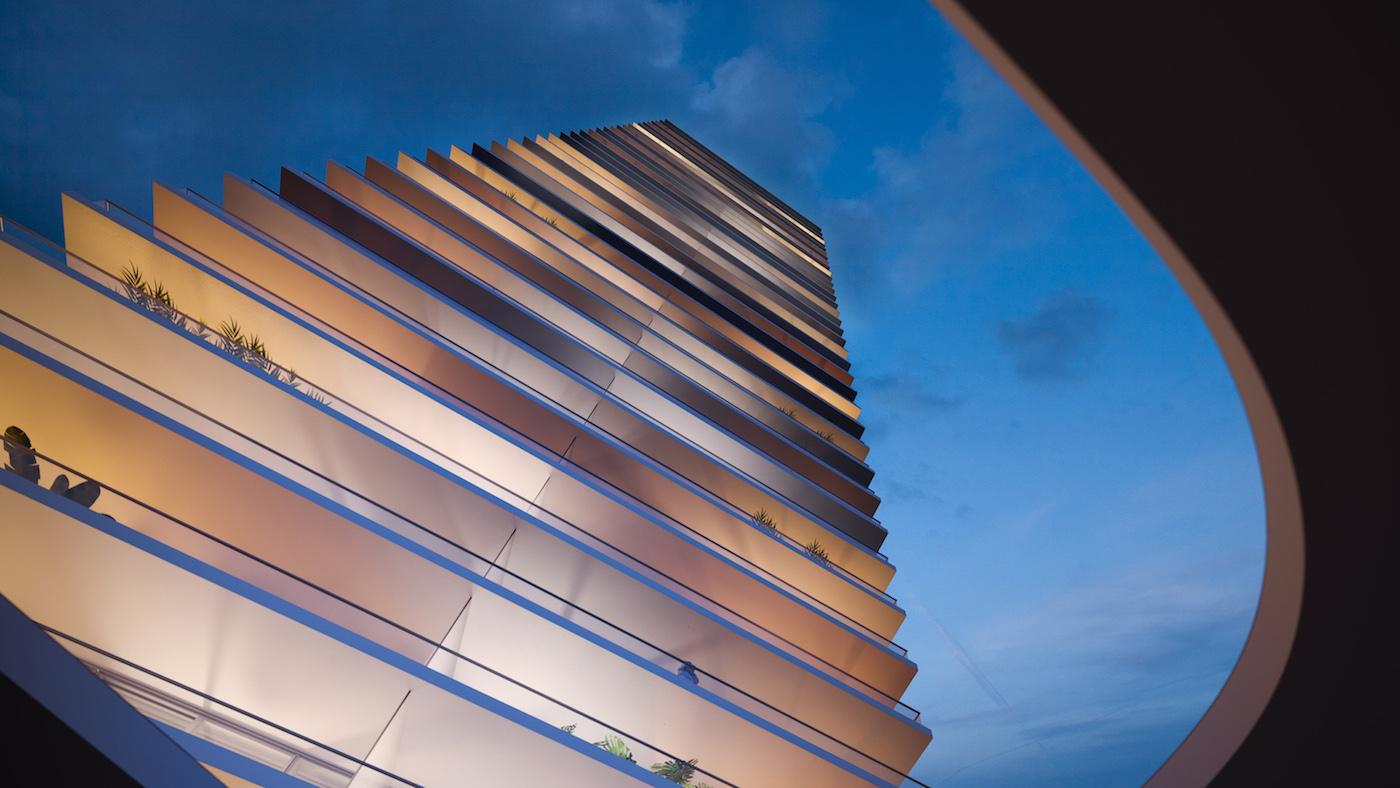 2000 Ocean facade at dusk