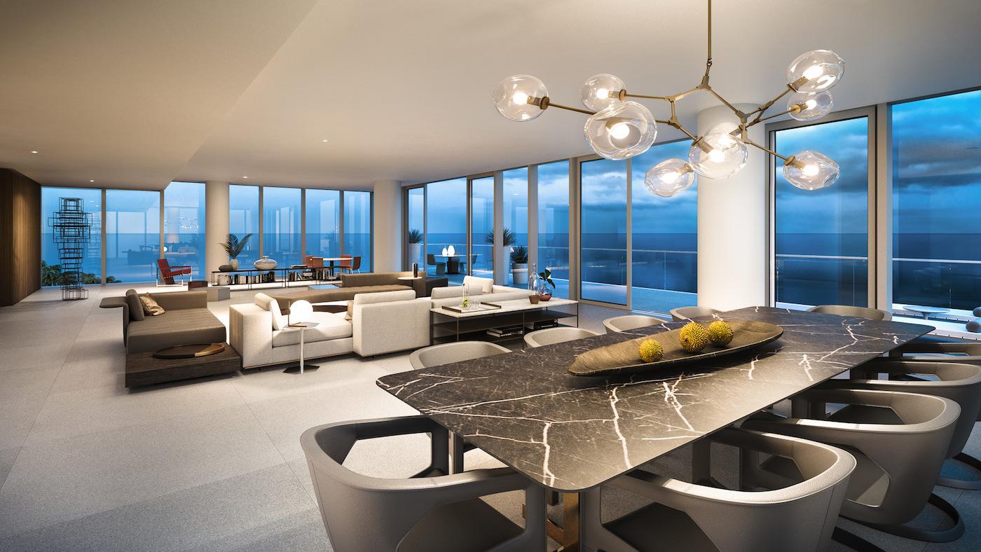 2000 Ocean suite living room at dusk