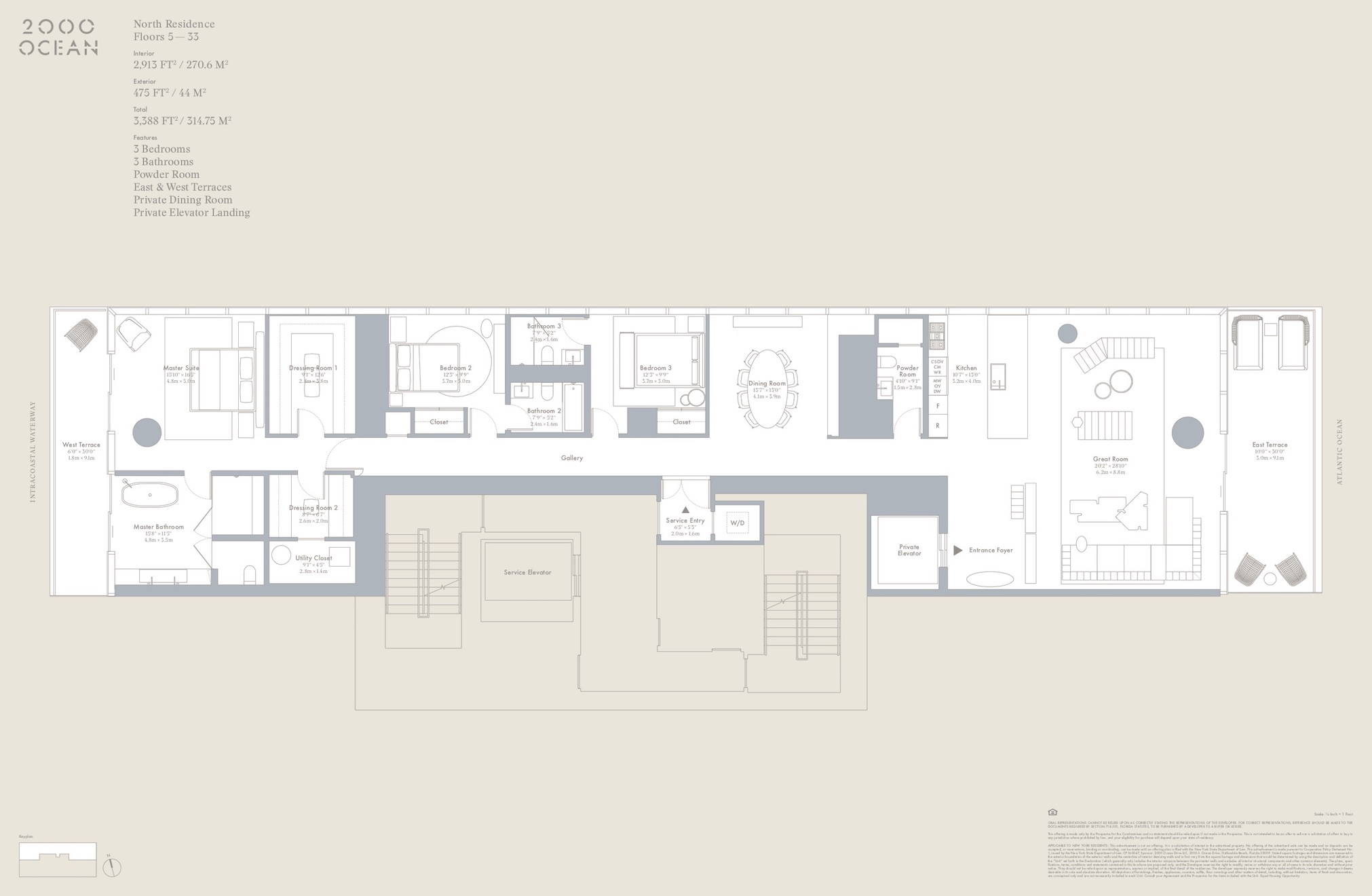 2000 Ocean suite floor plan - north residences