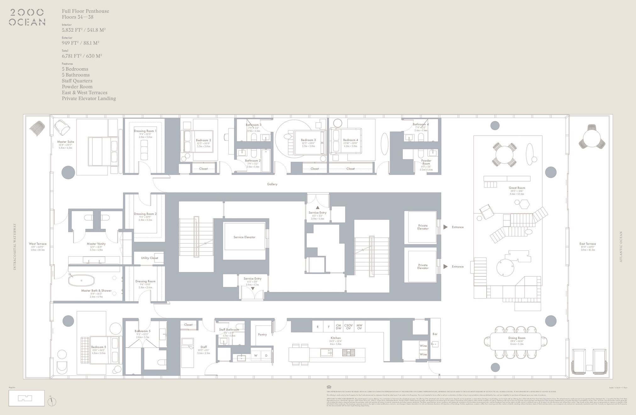2000 Ocean suite floor plan - penthouse