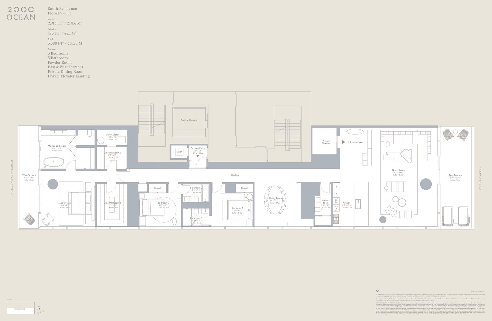 2000 Ocean suite floor plan - south residences
